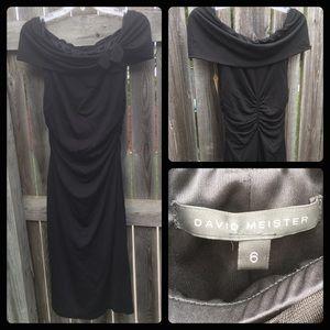 David Meister Black Midi Dress